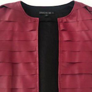 Lafayette 148 Burgundy Leather Jacket Size 4